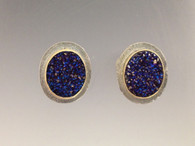 Sterling &18k ear tops with blue druzy
