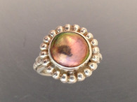Setrling silver ring with bronze coin pearl