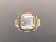 Sterling silver, 18k gold and square coin pearl ring