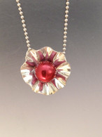 Sterling 'Ruffle ' pendant with red pearl available on a 24-inch sterling Plumbers chain priced separately at $28.