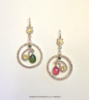 sterling & 18k gold earrings w/ tourmalines /sapphires /citrines