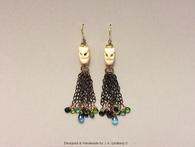 Sterling 14k gold w/ London blur topaz/ tourmalines & bone earrings
