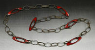 Red enamel ovals, sterling chain.