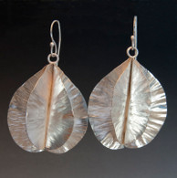 Hand-forged fold-form sterling earrings