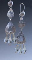 textured sterling silver, 14kgf earrings with green amethyst faceted drops