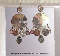 sterling w/ pink-grey tourmaline earrings