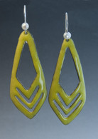 Yellow enamel,  sterling and pearl earrings