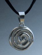 Spiral shell sterling pendant on black suede cord
