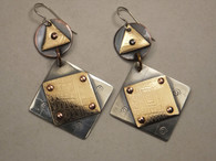 Etched sterling silver, copper, brass and gold fill earrings