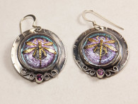 Dragonfly PInk Iridescent Glass Earrings with Rhodalite