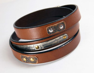 Leather wrap-around bracelet in tan 10mm with etched silver and copper metal secured with brass and copper rivets. Bracelet wraps 3 times around wrist and has a silver plated magnetic clasp.
