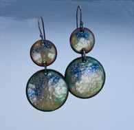 SS and blue/green copper on enamel earrings