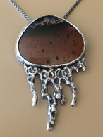 Sterling Silver and Fine Silver Pendant with Montana Moss Agate