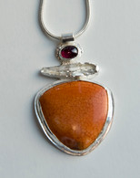 Sterling silver orange jasper and rhodolite garnet pendant