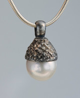 Sterling silver acorn pearl cap and large tear drop pearl