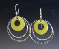 sterling silver forged hoops with green enamel
