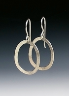Hammered oval drop earrings