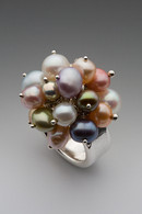 Sterling silver & multi-color pearls cluster ring