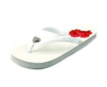 Luckers Women Heart Flip Flops In White