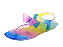 Luckers Girl's Cinderella Tie-Die Jelly Bows T-Strap Sandals