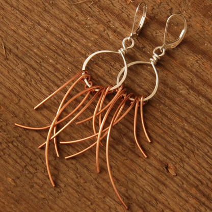 Copper Feather earring