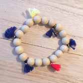 Wood and Tassels Bracelet Navy