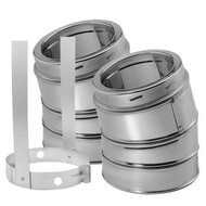 "6DT-E15KSS 9464KIT DuraTech 15 Degree Elbow Kit and Strap 6"" Diameter in Stainless Steel and Galvanized"
