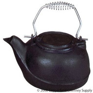 61131 Woodfield Flat Black Cast-iron Kettle, 2.5 Qt Silver Colored Handle