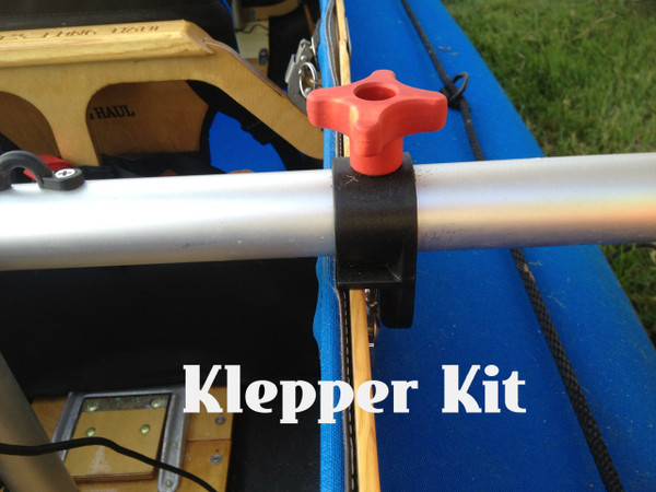 Klepper Mounts to the gunnel  with 2 carriage bolts and our clamp system on each side of boat. A mast foot is secured to floor with screws.