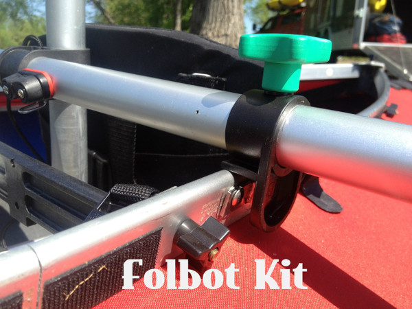 Folbot Mounts to the gunnel  with 2 carriage bolts and our clamp system on each side of boat. A mast foot is secured to floor with screws.