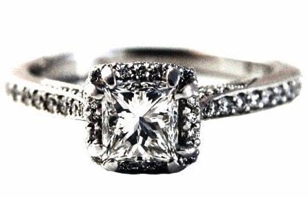 Halo Princess Cut Engagement Ring