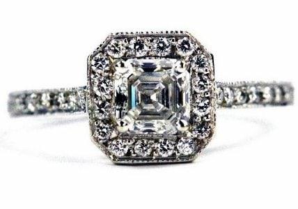 Unique Halo Asscher Cut Engagement Ring