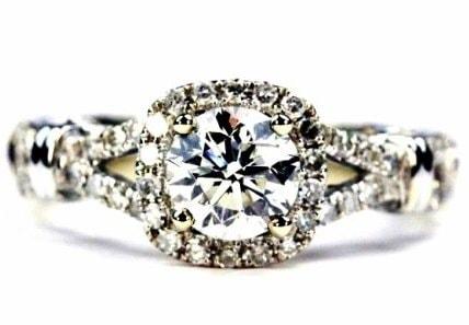 Antique Split Shank Halo Engagement Ring