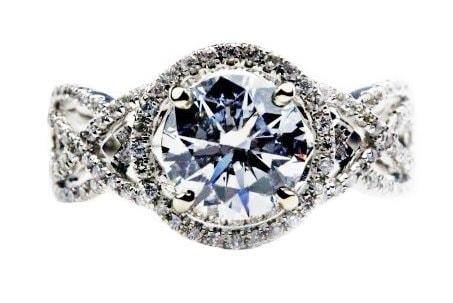 Swirl Halo Engagement Ring