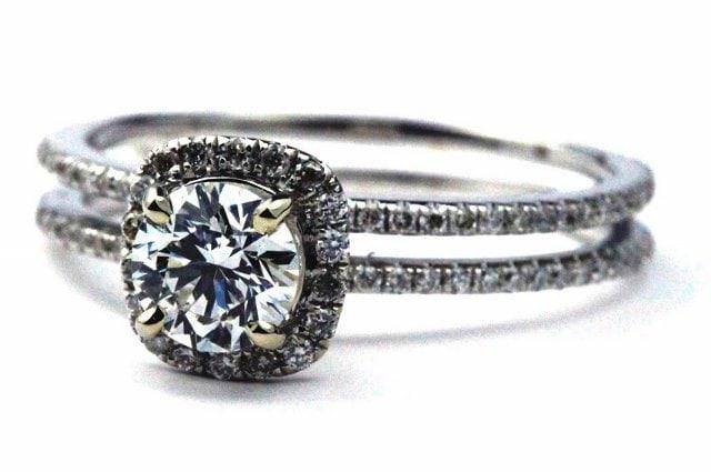 Unique Double Shank Halo Engagement Ring
