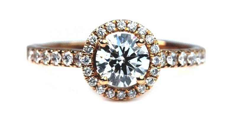 Unique Halo Rose Gold Engagement Ring