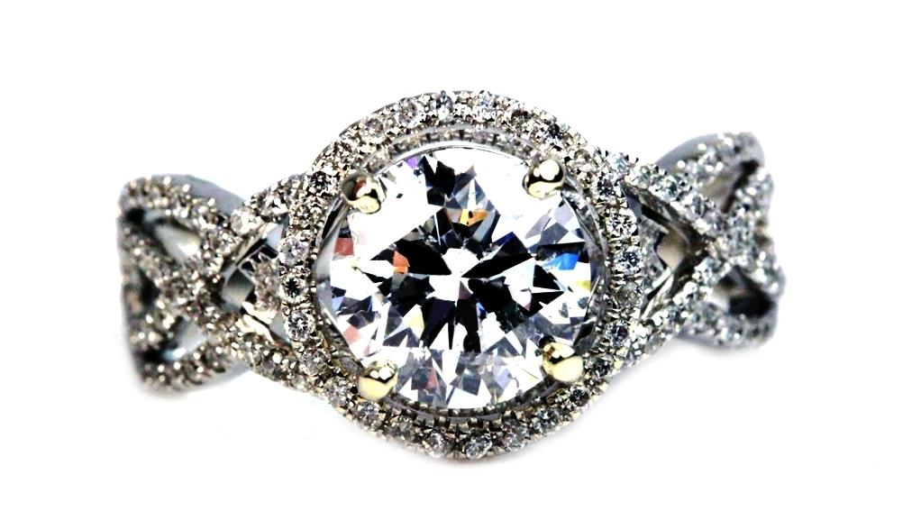 unique swirl halo engagement  ring