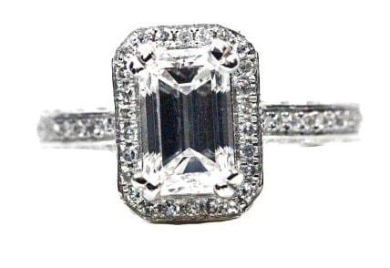 Unique Emerald Engagement Ring Halo