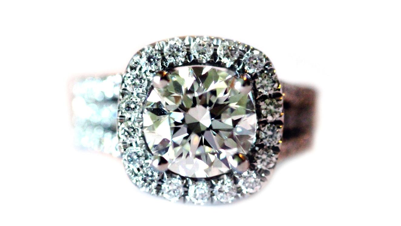 split shank platinum halo engagement ring