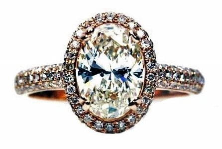 Unique Oval Rose Gold Engagement Ring