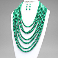 Emerald multi-strand bead necklace set