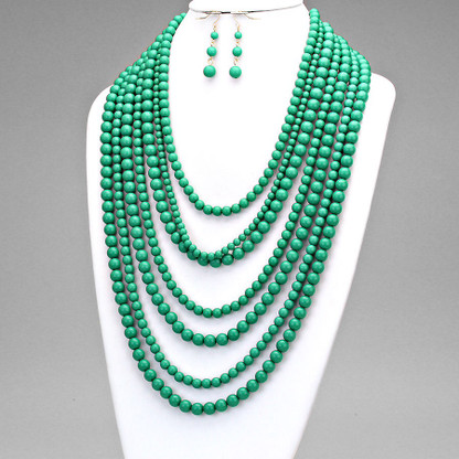 Emerald multi-strand bead necklace set