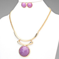 Purple Gem Statement Necklace Set
