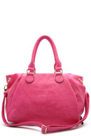 Fuschia - Tote Bag Zipper top closure Textured faux leather Rear zipper pocket Inside lining with open/zip pockets 18 inch handles, 49 inch adjustable strap 18 (W) x 6 (D) x 11 (H) inches