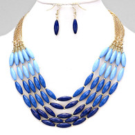 Blue - Rice Beaded Necklace Set  17 inch length with 3 inch ext,  Lobster claw clasp, fish hook back
