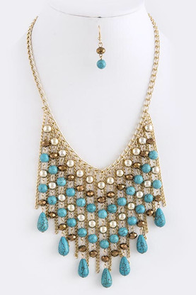 """MIX FAUX GEM FRINGE NECKLACE SET  Approx. 18"""" length Lobster claw clasp with 3"""" extender Lead/Nickel compliant"""