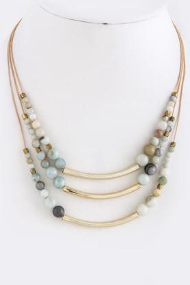 Semi Precious Stone Necklace Color: Gold