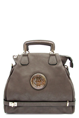 Zipper top closure Textured faux leather Rear zipper pocket Inside lining with open/zip pockets 18 inch handles 48 inch shoulder strap 19 (W) x 6 (D) x 13 (H) inches