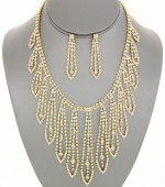 Elegant Crystal Fringe Bib Necklace Sets Color: Clear