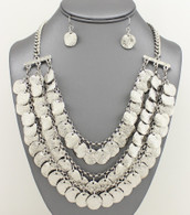 Metal Coin Bib Necklace Necklace Sets Color:Silver